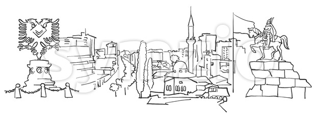 Tirana Albania Panorama Sketch Stock Vector