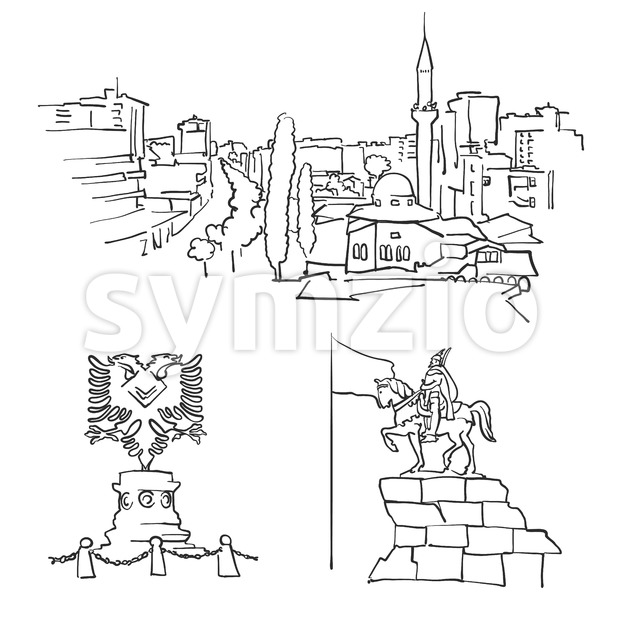 Tirana Albania Famous Buildings Stock Vector