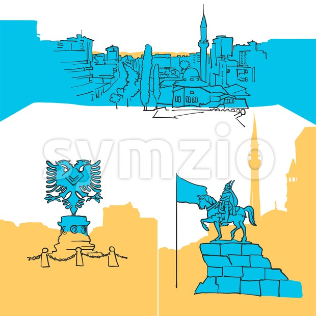 Tirana Albania Colored Landmarks, Scalable Vector Monuments. Filled with Blue Shape and Yellow Highlights.
