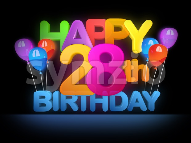 Happy 28th Birthday Title, dark Stock Photo