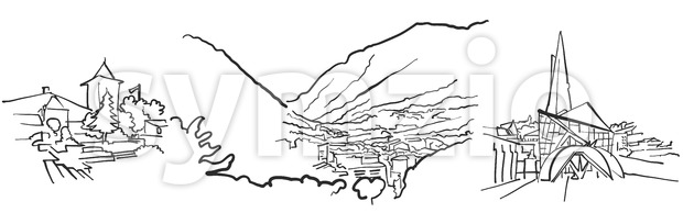Andorra la Vella Panorama Sketch Stock Vector