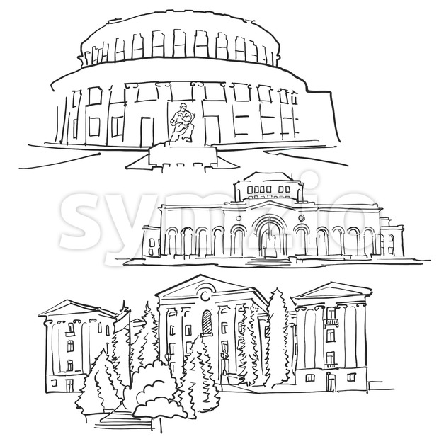 Yerevan Armenia Famous Buildings Stock Vector
