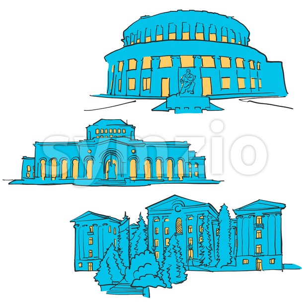 Yerevan Armenia Colored Landmarks, Scalable Vector Monuments. Filled with Blue Shape and Yellow Highlights.