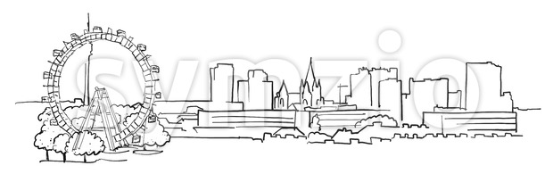 Vienna Austria Panorama Sketch Stock Vector