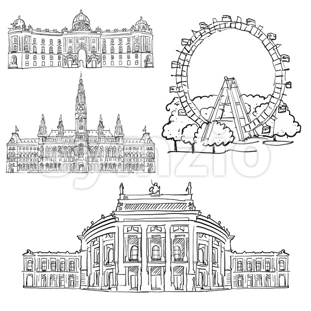 Vienna Austria Famous Buildings Stock Vector