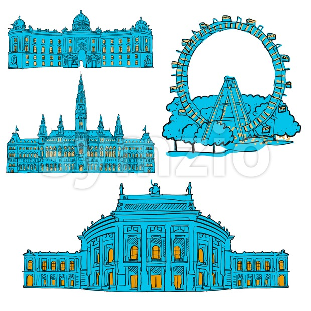 Vienna Austria Colored Landmarks, Scalable Vector Monuments. Filled with Blue Shape and Yellow Highlights.