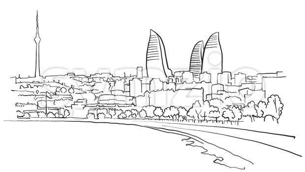Baku Azerbaijan Panorama Sketch Stock Vector