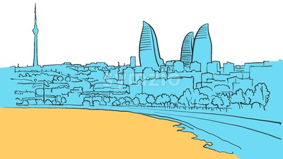 Baku Azerbaijan Colored Panorama Stock Vector