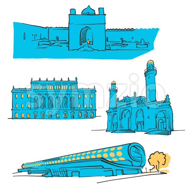 Baku Azerbaijan Colored Landmarks, Scalable Vector Monuments. Filled with Blue Shape and Yellow Highlights.