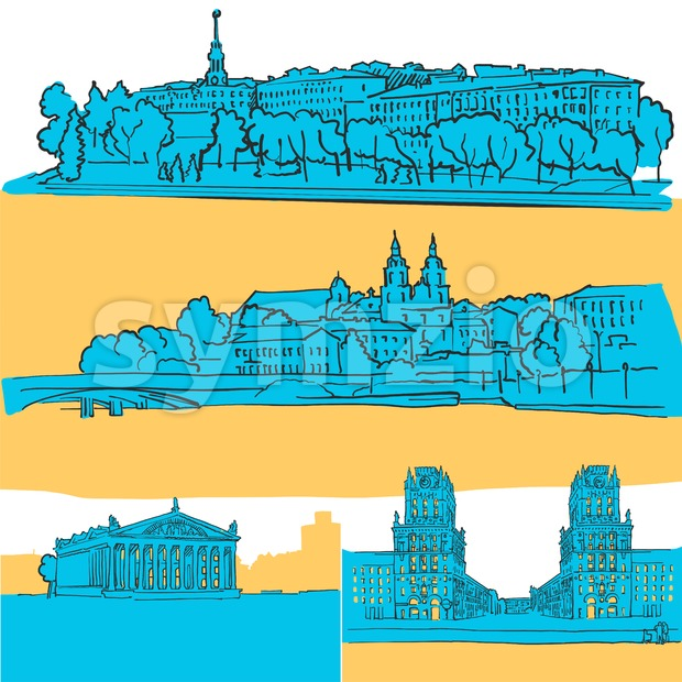 Minsk Belarus Colored Landmarks, Scalable Vector Monuments. Filled with Blue Shape and Yellow Highlights.