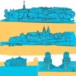Minsk Belarus Colored Landmarks Stock Vector