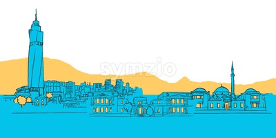 Sarajevo Bosnia and Herzegovina Colored Panorama Stock Vector