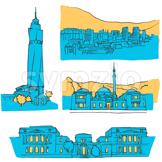 Sarajevo Bosnia and Herzegovina Colored Landmarks, Scalable Vector Monuments. Filled with Blue Shape and Yellow Highlights.