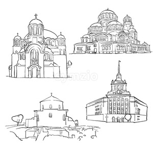 Sofia Bulgaria Famous Buildings Stock Vector