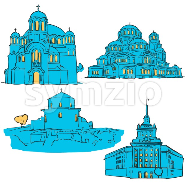 Sofia Bulgaria Colored Landmarks, Scalable Vector Monuments. Filled with Blue Shape and Yellow Highlights.