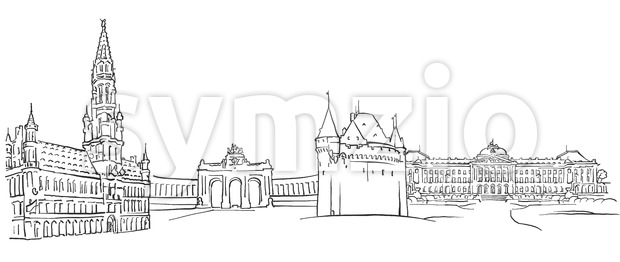 Brussels Belgium Panorama Sketch Stock Vector