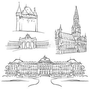 Brussels Belgium Famous Buildings Stock Vector