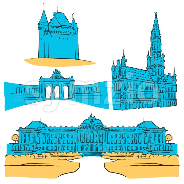 Brussels Belgium Colored Landmarks, Scalable Vector Monuments. Filled with Blue Shape and Yellow Highlights.