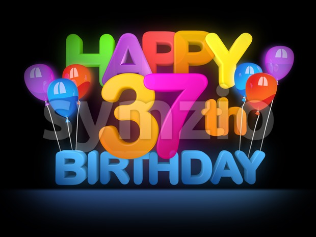 Happy 37th Birthday Title, dark Stock Photo