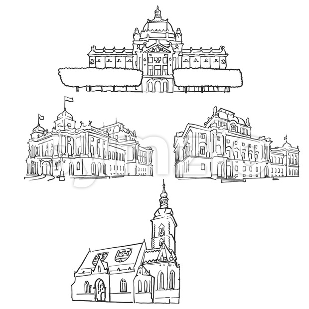 Zagreb Croatia Famous Buildings Stock Vector