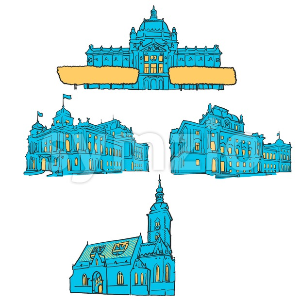 Zagreb Croatia Colored Landmarks Stock Vector