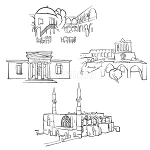 Nicosia	Cyprus Famous Buildings Stock Vector