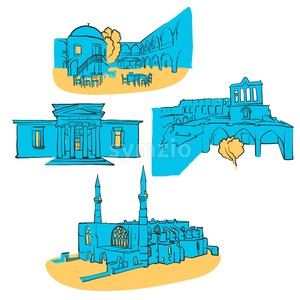 Nicosia Cyprus Colored Landmarks Stock Vector