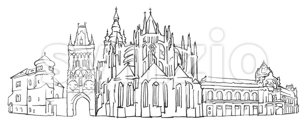 Prague Czech Republic Panorama Sketch Stock Vector