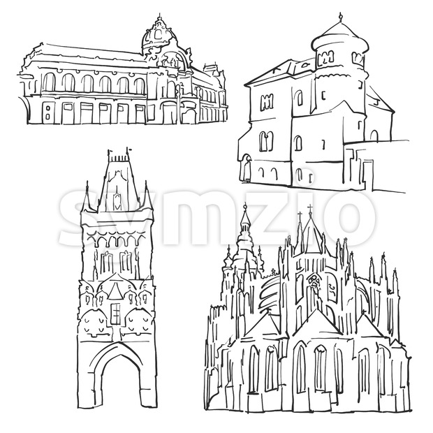 Prague Czech Republic Famous Buildings Stock Vector