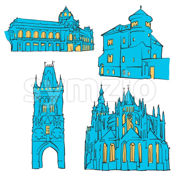 Prague Czech Republic Colored Landmarks, Scalable Vector Monuments. Filled with Blue Shape and Yellow Highlights.