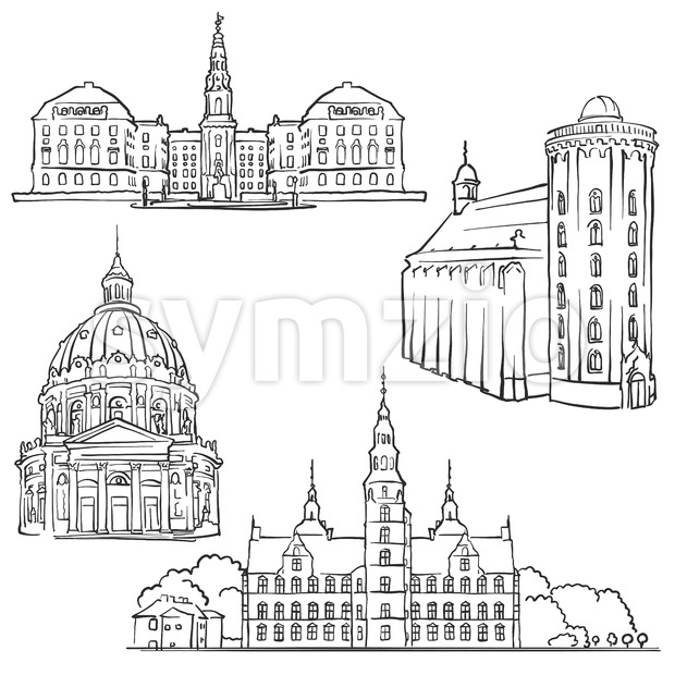 Copenhagen Denmark Famous Buildings Stock Vector