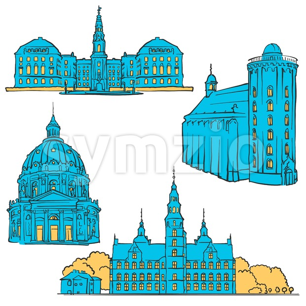 Copenhagen Denmark Colored Landmarks, Scalable Vector Monuments. Filled with Blue Shape and Yellow Highlights.