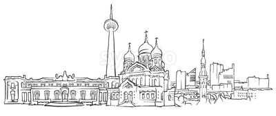 Tallinn Estonia Panorama Sketch Stock Vector