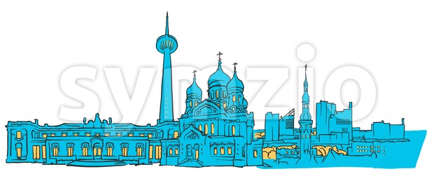 Tallinn Estonia Colored Panorama Stock Vector