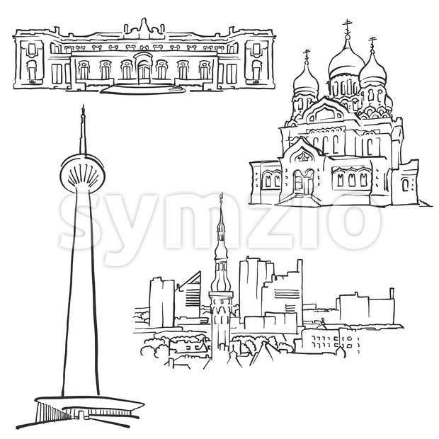 Tallinn Estonia Famous Buildings Stock Vector
