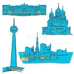 Tallinn Estonia Colored Landmarks Stock Vector