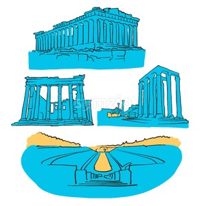 Athens Greece Colored Landmarks Stock Vector