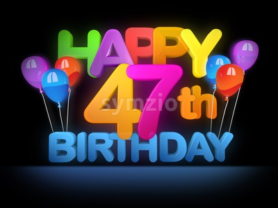 Happy 47th Birthday Title, dark Stock Photo