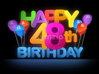 Happy 48th Birthday Title, dark Stock Photo