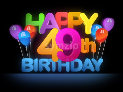 Happy 49th Birthday Title, dark Stock Photo