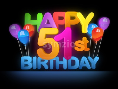 Happy 51st Birthday Title, dark Stock Photo