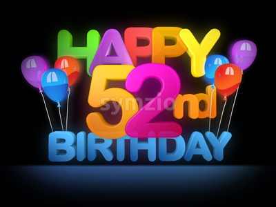 Happy 52nd Birthday Title, dark Stock Photo
