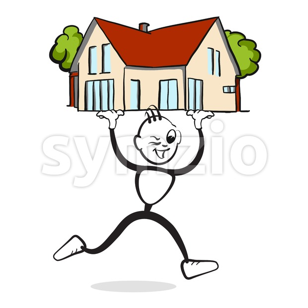 Man presents house Stickman Emotion Stock Vector