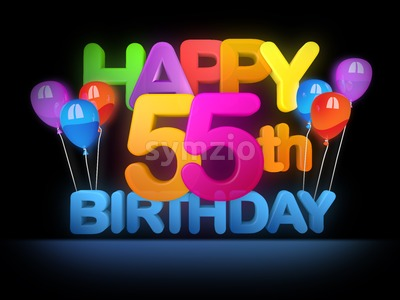 Happy 55th Birthday Title, dark Stock Photo
