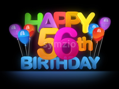 Happy 56th Birthday Title, dark Stock Photo