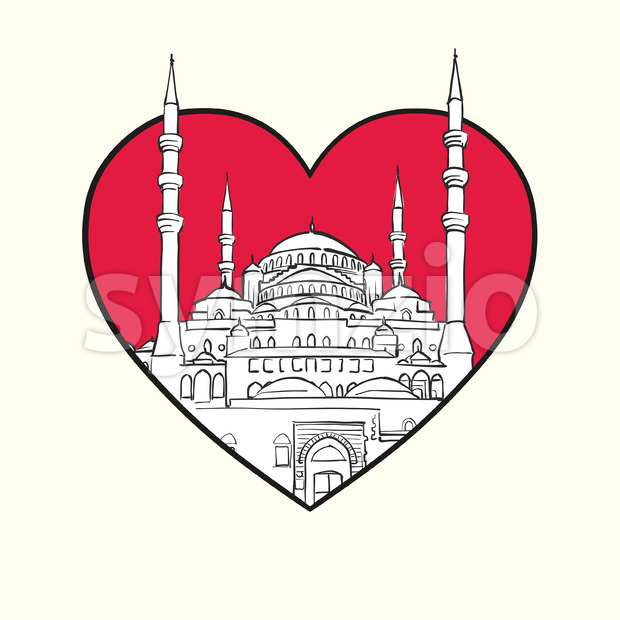 I love Ankara. Red heart and famous buildings Stock Vector