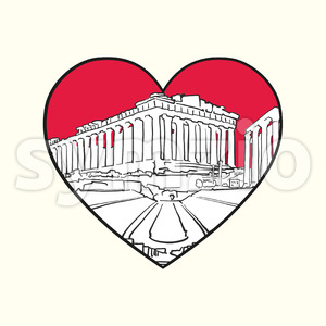I love Athens. Red heart and famous buildings Stock Vector