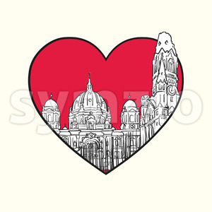 I love Berlin. Red heart and famous buildings Stock Vector