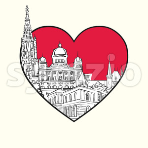I love Bern. Red heart and famous buildings Stock Vector