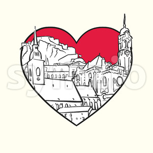 I love Bratislava. Red heart and famous buildings Stock Vector